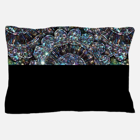 Beaded Sequin Flowers Photo Pillow Case