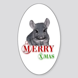 Chin Merry XMas Oval Sticker
