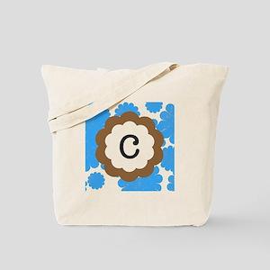 Blue Mums Monogram C Tote Bag