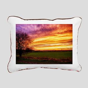 Rural Sunset Burst Rectangular Canvas Pillow