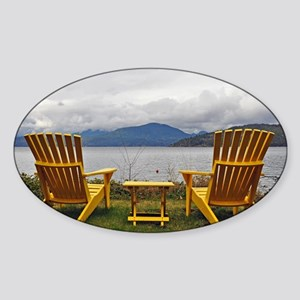 Yellow deck chairs Sticker (Oval)