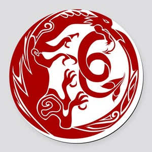 Welsh Dragon Round Car Magnet