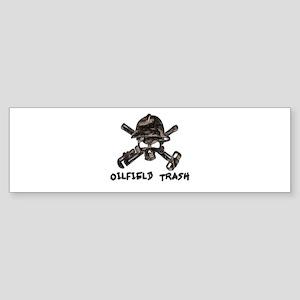 Riveted Metal Oilfield Trash Skull Bumper Sticker
