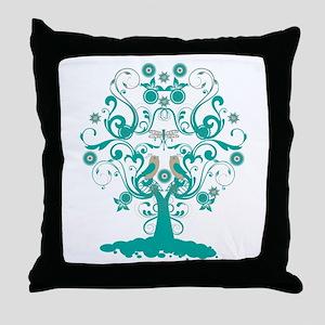 Love Bird Tree Throw Pillow