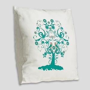 Love Bird Tree Burlap Throw Pillow