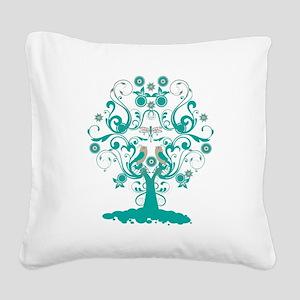 Love Bird Tree Square Canvas Pillow