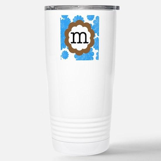 Blue Mums Monogram M Stainless Steel Travel Mug