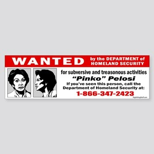 WANTED: Pinko Pelosi Bumper Sticker