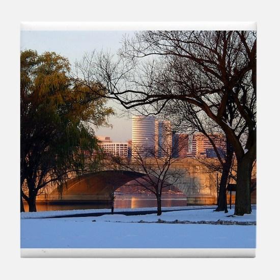 Memorial Bridge Sunrise Tile Coaster