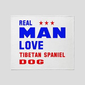 Real Man Love Tibetan Spaniel Dog Throw Blanket