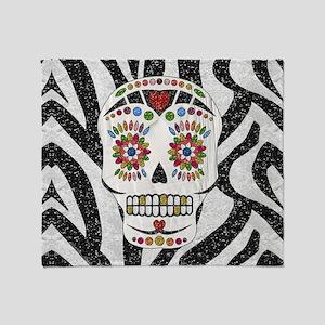 Sugar Skull on Zebra Print Throw Blanket