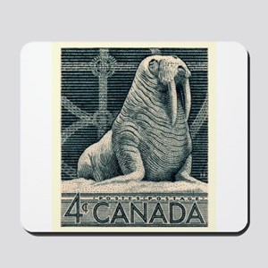 Vintage 1954 Canada Walrus Postage Stamp Mousepad