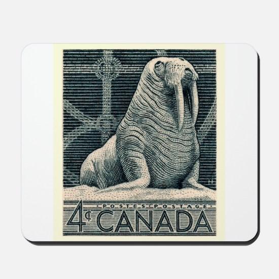 Vintage 1954 Canada Walrus Postage Stamp Mousepad