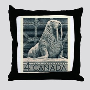 Vintage 1954 Canada Walrus Postage Stamp Throw Pil