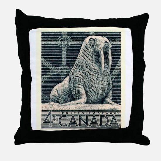Vintage 1954 Canada Walrus Postage Stamp Throw Pil
