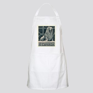 Vintage 1954 Canada Walrus Postage Stamp Apron