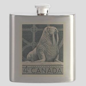 Vintage 1954 Canada Walrus Postage Stamp Flask