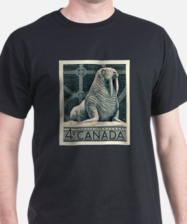 Vintage 1954 Canada Walrus Postage Stamp T-Shirt