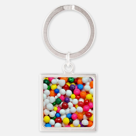 Colourful sugar balls Square Keychain