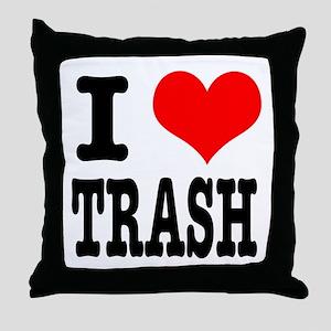 I Heart (Love) Trash Throw Pillow