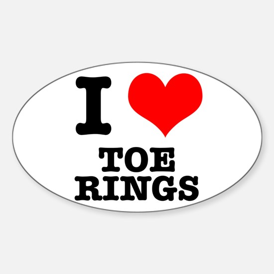 I Heart (Love) Toe Rings Oval Decal