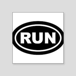 RUN Running Black Euro Oval Sticker