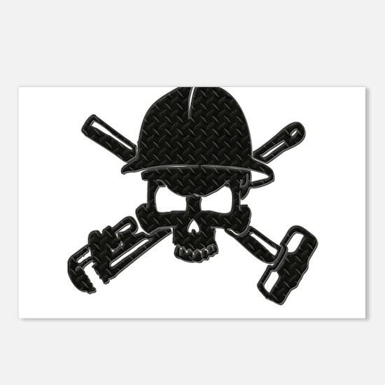 black diamond plate oilfield skull Postcards (Pack