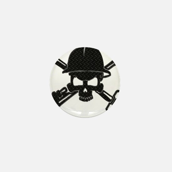 black diamond plate oilfield skull Mini Button