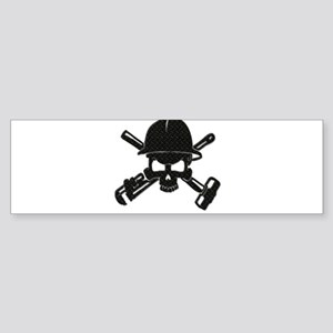 black diamond plate oilfield skull Bumper Sticker