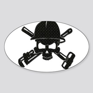 black diamond plate oilfield skull Sticker