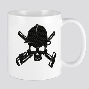 black diamond plate oilfield skull Mugs