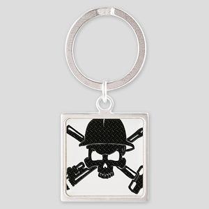 black diamond plate oilfield skull Keychains