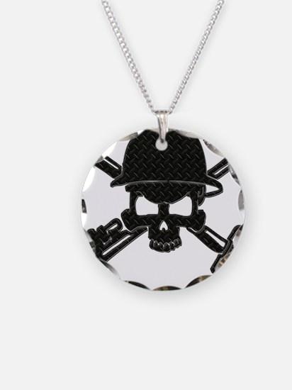 black diamond plate oilfield skull Necklace