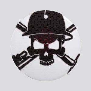 Red and Black Honeycomb Oilfield Skull Ornament (R