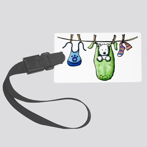 Laundry Day Westie Large Luggage Tag