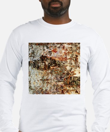 Rustic Old Birch Tree Wooden Texture Long Sleeve T