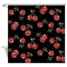 Very Cherry Cherries On Black Shower Curtain