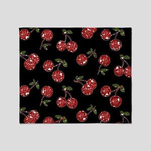 Very Cherry Cherries On Black Throw Blanket