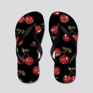 Very Cherry Cherries On Black Flip Flops