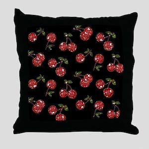 Very Cherry Cherries On Black Throw Pillow