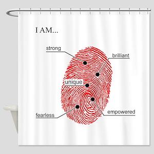 FingerprintBlackFinal Shower Curtain