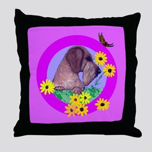 Mini Wirehaired Dachshund Throw Pillow