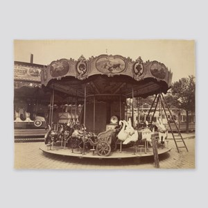 Vintage Carousel 5'x7'Area Rug