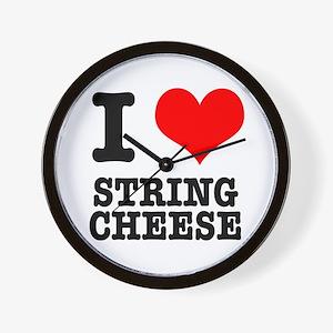 I Heart (Love) String Cheese Wall Clock