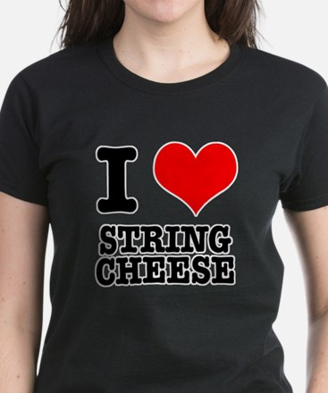 I Heart (Love) String Cheese Women's Dark T-Shirt