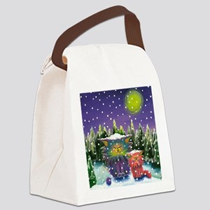 2 Cranky Cats In Snowstorm Canvas Lunch Bag