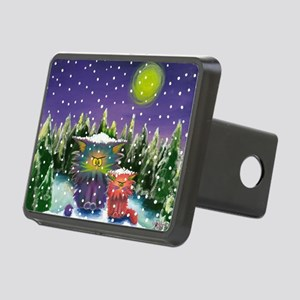 2 Cranky Cats In Snowstorm Rectangular Hitch Cover