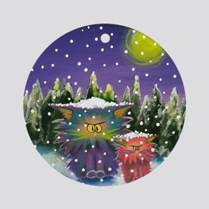 2 Cranky Cats In Snowstorm Round Ornament