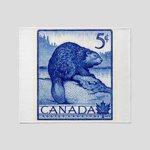 Vintage 1954 Canada Beaver Postage Stamp Throw Bla