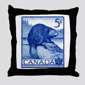 Vintage 1954 Canada Beaver Postage Stamp Throw Pil